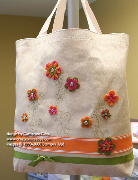 ea89932f6a This cute canvas bag was and idea that Carolynn and I saw at Convention. It  is decorated with Flower Flusion felt flowers