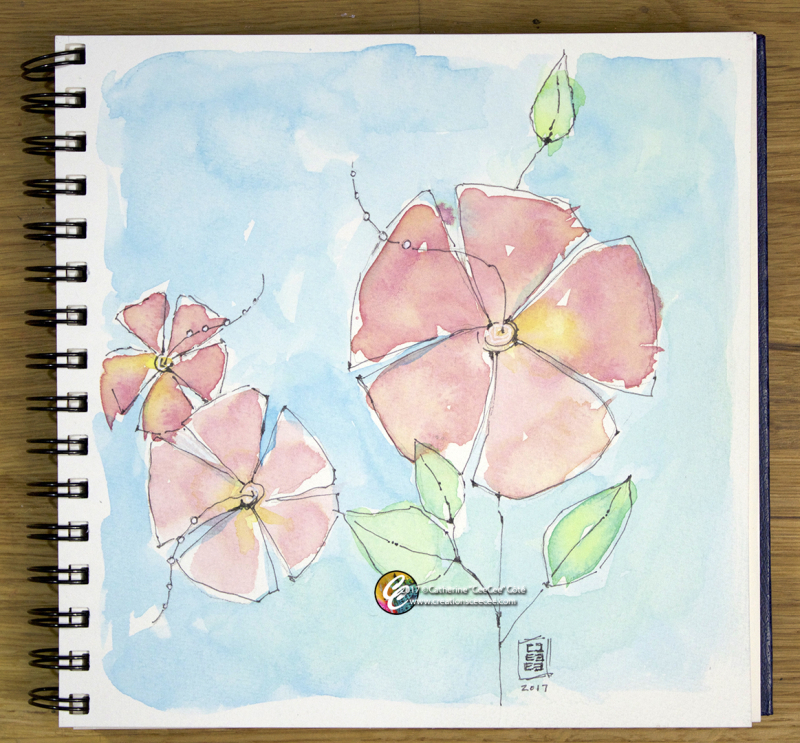Coral watercolor flowers b